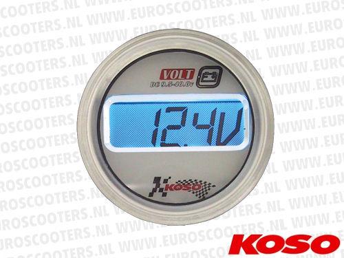 Koso Voltmeter - LCD / Rond model - 48X57 mm - Verlichting: Blauw KO ...
